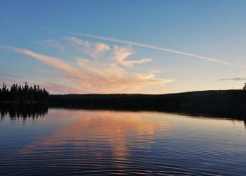 Sunset over a lake in northern Ontario, Canada.
