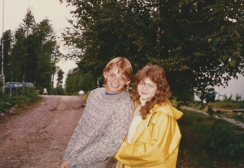 A man and a woman stand at the entrance to the Experimental Lakes Area in the 1980s
