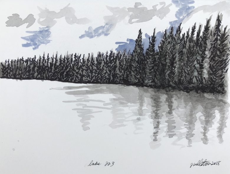 Watercoloured sketch of a lakes bordered by trees in Canada's boreal forest.