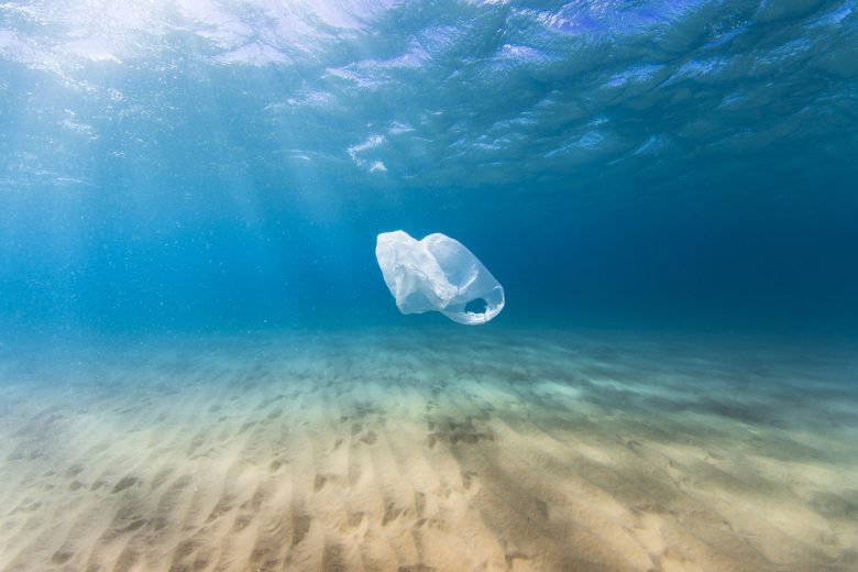 plastic bag floating in the ocean