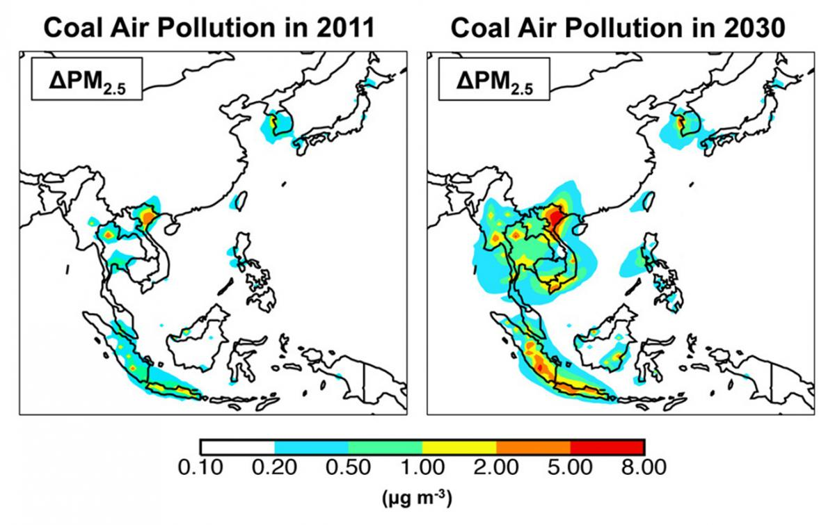 "Infographic for, ""Coal Air Pollution in 2011 and 2030"""