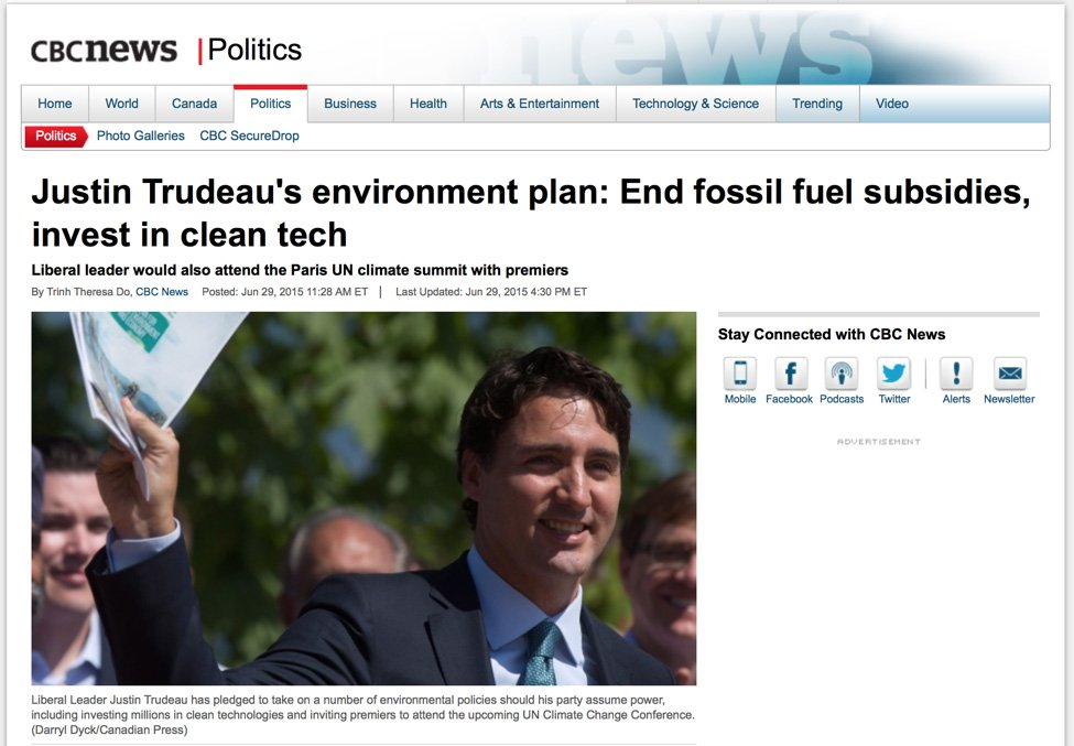 Justin Trudeau's environment plan: End fossil fuel subsidies, invest in clean tech