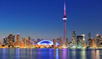 a landscape view of the waterfront of Toronto, Ontario, Canada