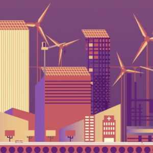 A flat graphic image of buildings and modern windmills. Purple, coral, and yellow tones.