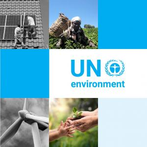 UNEP Logo, with a background pattern of squares and various photographs related to the environment.