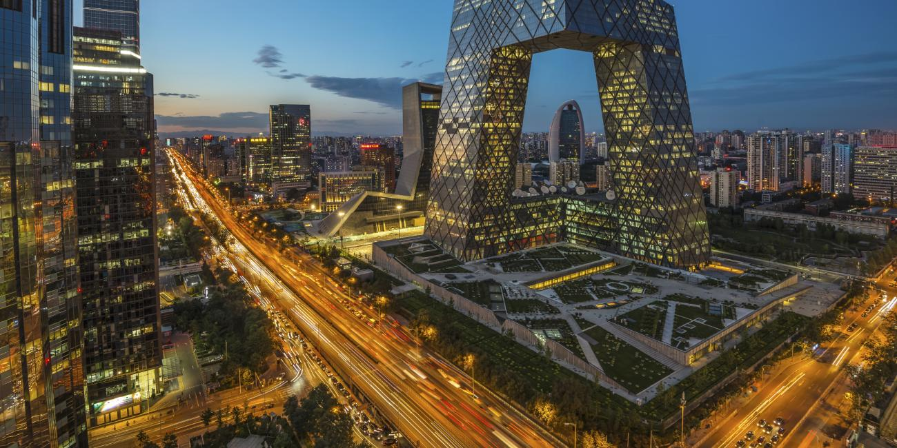 A time-lapse shot of a busy urban area in China.
