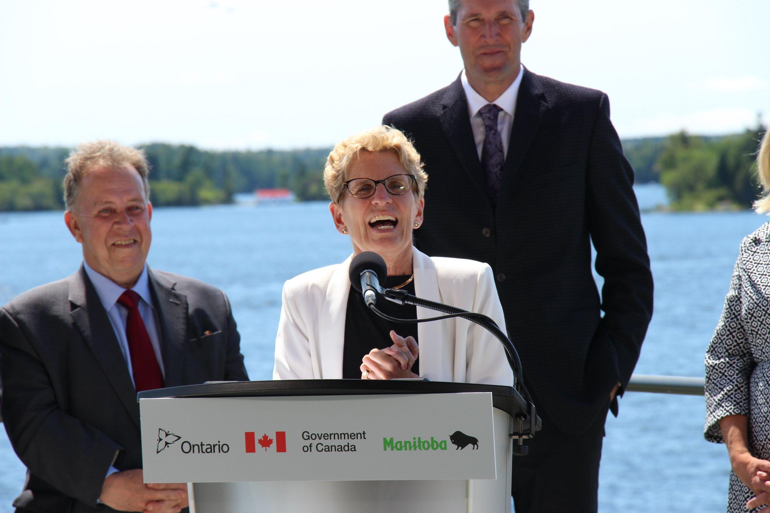 Ontario Premier Kathleen Wynne talks of the importance of fresh water research at IISD-ELA