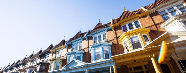 Colourful row of houses in Baltimore