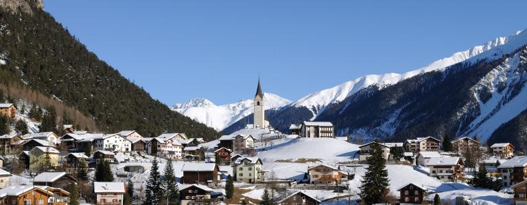 Swiss village near Davos Switzerland