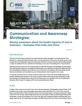 Communications and Awareness Strategies: Raising awareness about the health impacts of coal in Indonesia - Examples from India and China cover