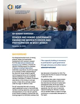 IGF-WIMOWA Workshop: Gender and Mining Governance cover