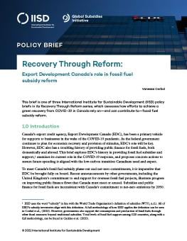 Recovery through Reform: Export Development Canada's role in fossil fuel subsidy reform cover