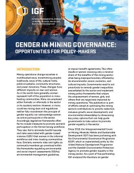 Gender in Mining Governance: Opportunities for policy-makers cover