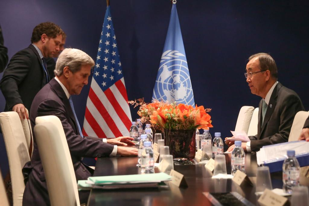 Former US Secretary of State John Kerry meeting with former UN Secretary-General Ban Ki-moon in Paris