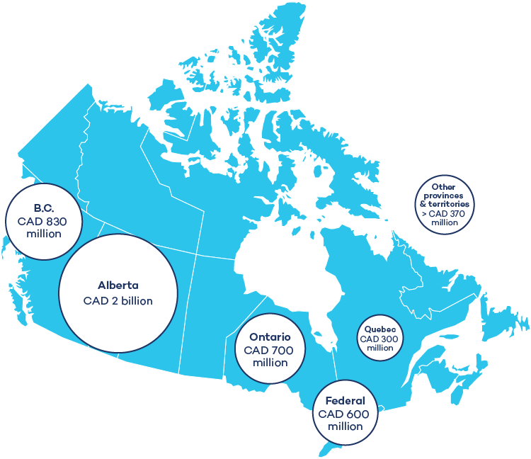 Map outlining the figures that Canada gives out in fossil fuel subsidies