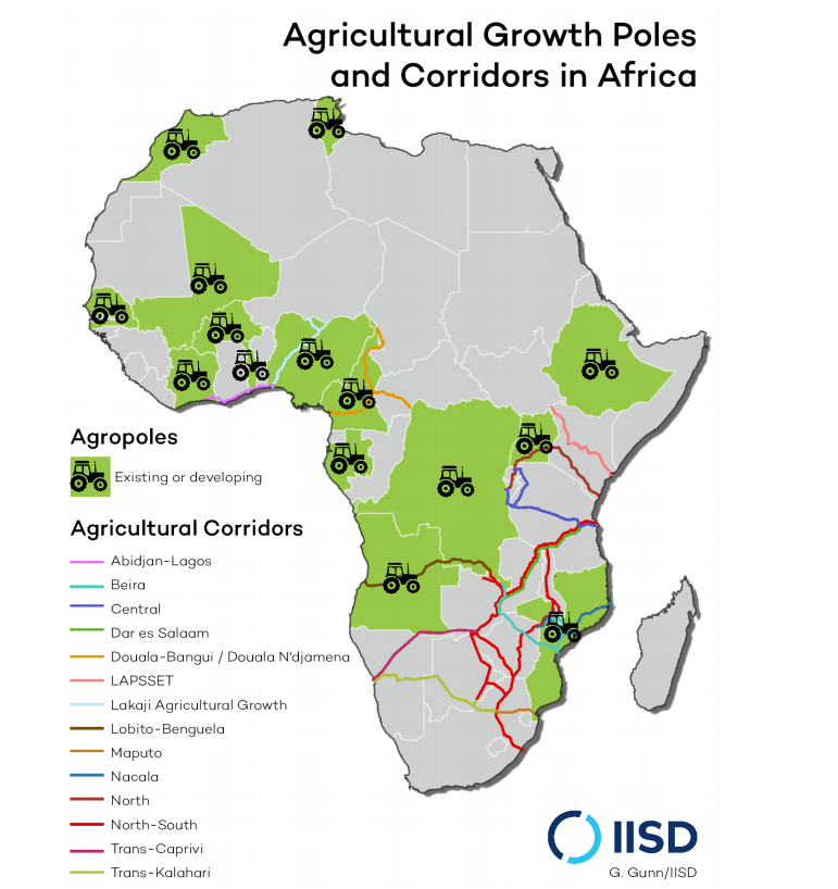 Map of Africa showing agricultural growth poles and corridors