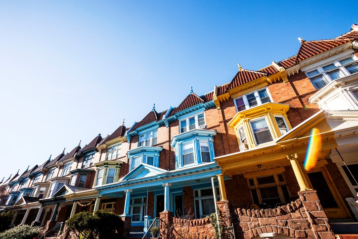Colourful row of houses in Baltimore, USA
