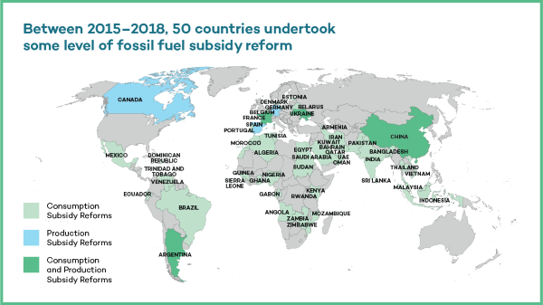 Map of 50 countries, including Ecuador, that are reforming fossil fuel subsidies