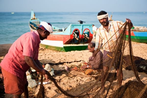 Two fishermen in India lift a fishing net on a sunny day on the beach