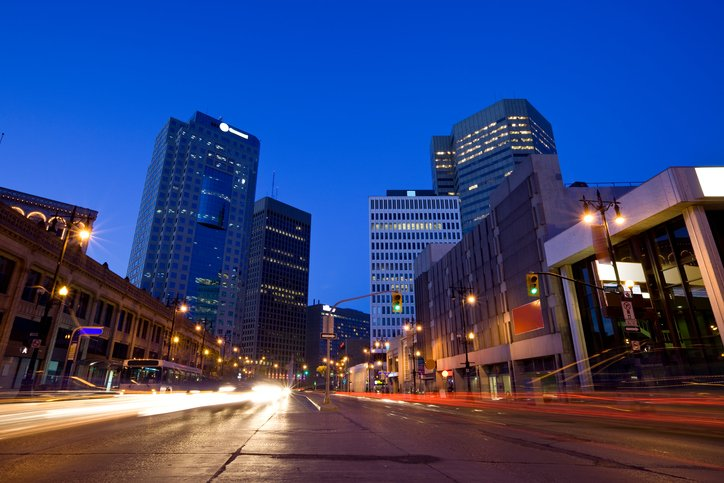 Portage Avenue in downtown Winnipeg. Canada at night