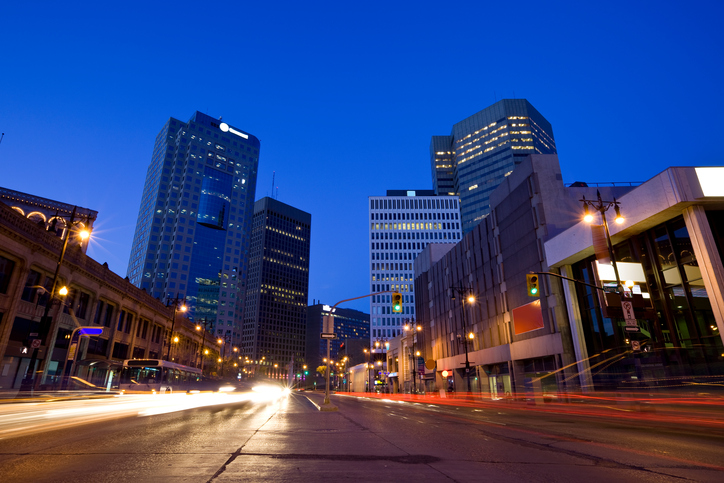 Portage Avenue in downtown Winnipeg. Canada at night