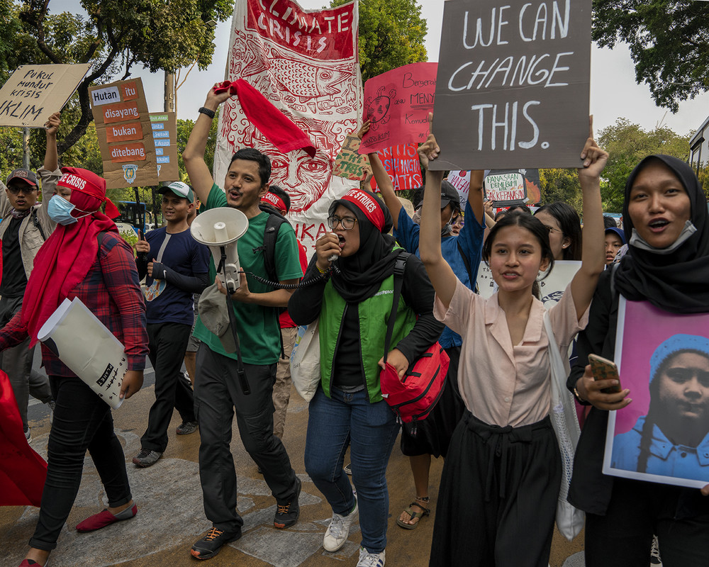 Young activists in Jakarta, Indonesia, protesting government inaction on climate change