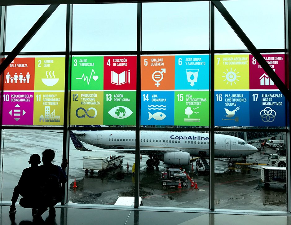 SDG symbols in an airport