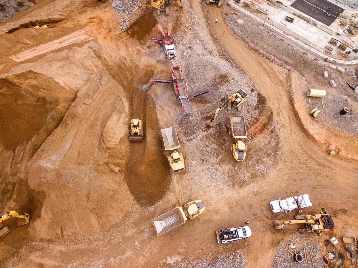 aerial photography of dump trucks