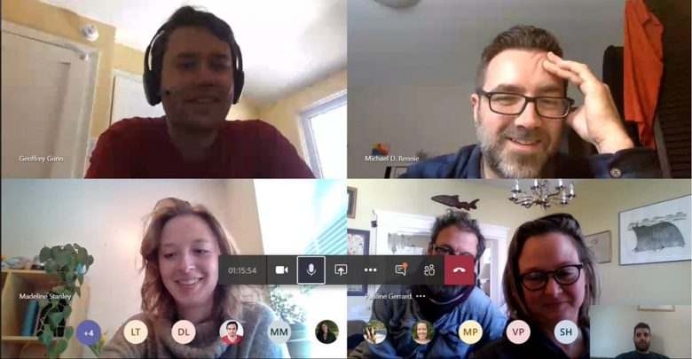 Five Canadian scientists in a Zoom virtual meeting room