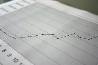 A closeup of a graph chart