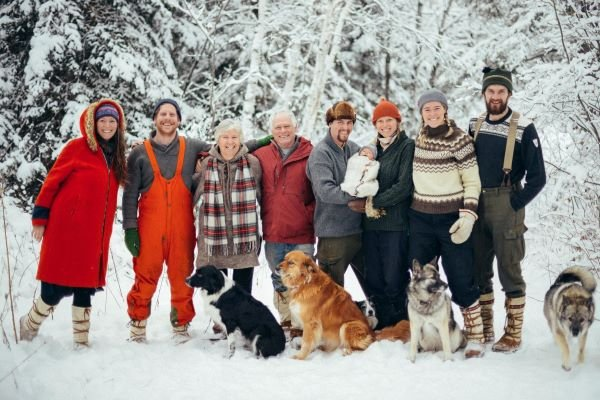 Portrait of the Christie-Hamilton family, leaders of climate action, in winter outside