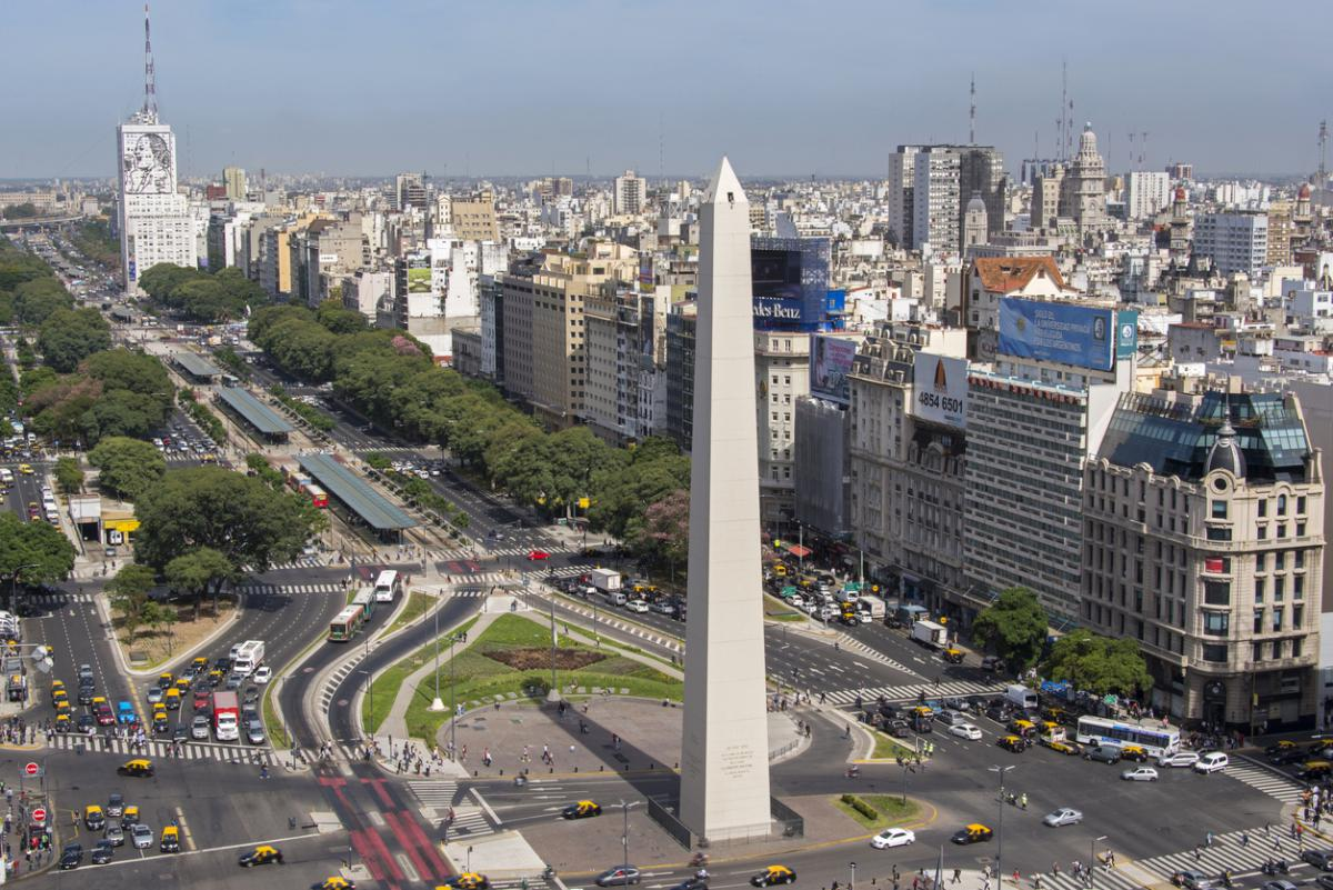 Birds eye of Avenida 9 de Julio in Buenos Aires, Argentina